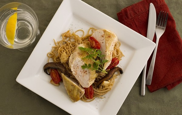 Mediterranean Chicken Pasta on a plate.